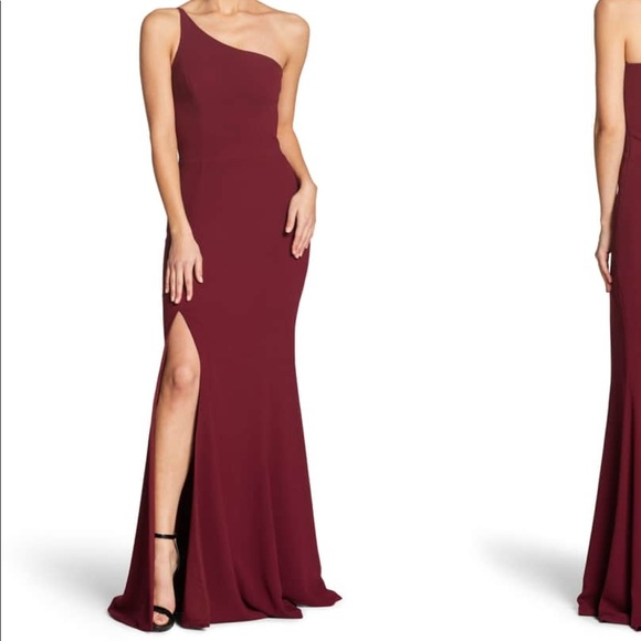 One Shoulder Crepe Gown